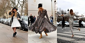 Cristina Bazam, Anna dello Russo and Chiara Ferragni dancing in the streets