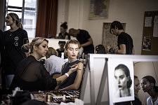 Model Giulia Maenza during making up before Ulyana Sergeenko's Haute-couture runway show in a classroom of Lycée Henri IV. Le mannequin Giulia Maenza au maquillage avant le défilé Haute-couture de Ulyana Sergeenko, dans une salle de classe du Lycée Henri IV.