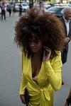 Top model Tina Kunakey showing up to the Armani runway show at Grand-Palais, July 4th, 2017. Le mannequin Tina Kunakey arrivant au défilé Armani au Grand-Palais, le 4 juillet 2017.
