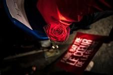 Socialist symbole, the red rose and the campaign slogan, during the meeting of Benoit Hamon, French socialist candidate at the presidential election, in Toulouse. Le symbole socialiste, la rose rouge et le slogan de campagne à terre, pendant le meeting de Benoit Hamon, candidat socialiste à l'élection présidentielle, à Toulouse.