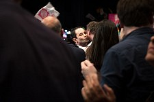 Benoit Hamon, french socialist candidate at the Presidential elections meeting the crowd in the Zenith, Toulouse.Benoit Hamon, candidat socialiste à l'élection présidentielle dans la foule au Zénith à Toulouse.
