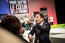 Benoit Hamon, french socialist candidate at the Presidential elections on stage in the Zenith, Toulouse.Benoit Hamon, candidat socialiste à l'élection présidentielle sur la scène du Zénith à Toulouse.