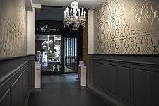 Intérieur du Salon de coiffure et institut de beauté Villa Soriano, Toulouse, avril 2017.
