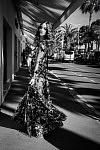 Austrian actress Coco Koenig walking on the Croisette in her Ralph and Russo ceremony dress, Cannes Film Festival 2017. L'actrice autrichienne Coco Koenig marchant sur la Croisette dans sa robe de cérémonie Ralph and Russo, Festival de Cannes 2017.