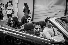 Local people of Cannes in a convertible car near the Croisette, Cannes Film Festival 2017. De jeunes cannois dans une décapotable près de la Croisette, Festival de Cannes 2017.