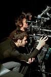 Irina Lubschantsky, directrice de la photographie, Pierre-hubert Martin et Marianne Denicourt sur le tournage de Notre Monde de Thomas Lacoste, 2012.