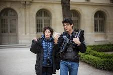 Irina Lubschantsky et Yves Michaux à l'ENS sur le tournage de Notre Monde, 2012.