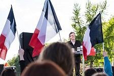 Jean-Luc Mélenchon speaking about Freedom during his Meeting in Toulouse, April 16th, 2017.Jean-Luc Mélenchon tenant son discours sur la liberté pendant son meeting à Toulouse, le 16 avril 2017.