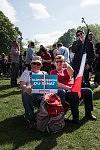 Two supporters of Jean-Luc Mélenchon with poster and french flag after the meeting in Toulouse, April 16th, 2017.Deux sympathisants de Jean-Luc Mélenchon avec affiche et drapeau français après son meeting à Toulouse, le 16 avril 2017.