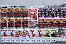Wall of political posters at the University Jean Jaurès Toulouse, the day of the NPA Meeting with Philippe Poutou, February 2017. Murs d'affiches politiques à l'Université Jean Jaurès à Toulouse ke jour de la venue de Philippe Poutou, candadidat du NPA Février 2017.