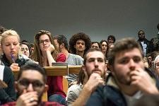 Audience listening to Philippe Poutou, Université du Mirail, TOulouse, Feb. 24, 2017.Public venu écouter Philippe Poutou, Université du Mirail, Toulouse, 24 février 2017.