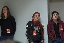 3 female activist students attending the political meeting of Philippe Poutou, Université du Mirail, Toulouse, Feb. 24, 2017.3 Etudiantes militantes présentes au meeting politique de Philippe Poutou à l'université du Mirail, Toulouse, 24 février 2017.