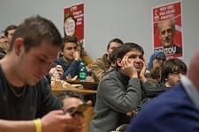 Students and activists in the audience listening to Philippe Poutou, Université du Mirail, Toulouse, Feb. 24, 2017.Etudiants et militants dans le public écoutant Philippe Poutou, Université du Mirail, Toulouse, 24 février 2017.