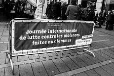 Close to the City Hall of TOulouse le Capitole, the official tent for the International day fo fight against the violence towards women.