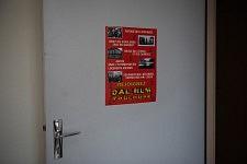 Dal Poster in the dermatological building of Hopital de la Grave, on a door leading to the rooms of the squatting families, Toulouse, Feb. 24 2017.Affiche du Dal dans le bâtiment de dermatologie de l'hôpital de la Grave sur la porte donnant vers les chambres des familles occupant le bâtiment, FEB 24 2017.