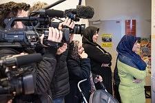 Media are present to attend the visit of Philippe Poutou in the dermatological building of Hopital de la Grave, Toulouse, Feb 24, 2017.Les médias sont présents pour assister à la rencontre de Philippe Poutout avec les occupants du bâtiment de dermatologie de l'hopital de la Grave, Toulouse, le 24 février 2017.