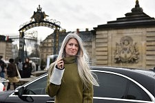 Portrait of Sarah Harris in Paris in winter during the Paris Fashion week, Jan 27, 2016.