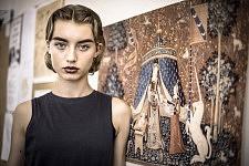 Model Giulia Maenza  during Ulyana Sergeenko's backstage, Paris July 2017
