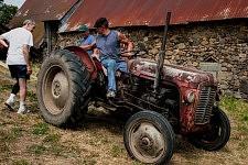 The old tractor driven by March Chambon resuming work, Saint-Martin Cantalès, 2012. Reprise du travail pour le vieux tracteur conduit par Marc Chambon, Saint-Martin Cantalès, 2012.