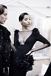 Model Lineisy Montero ready to go on the catwalk for the Haute-Couture show of the Russian fashion designer Ulyana Sergeenko, at the Lycée Henri IV, July 4th 2017 in Paris. Les Mannequin Lineisy Montero sur le point de défiler avec les créations Haute-Couture de la créatrice de mode russe Ulyana Sergeenko au Lycée Henri IV, le 4 juillet 2017 à Paris.