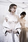 Model Giulia Maenza ready to go on the catwalk for the Haute-Couture show of the Russian fashion designer Ulyana Sergeenko, at the Lycée Henri IV, July 4th 2017 in Paris. Le Mannequin Giulia Maenza sur le point de défiler avec les créations Haute-Couture de la créatrice de mode russe Ulyana Sergeenko au Lycée Henri IV, le 4 juillet 2017 à Paris.